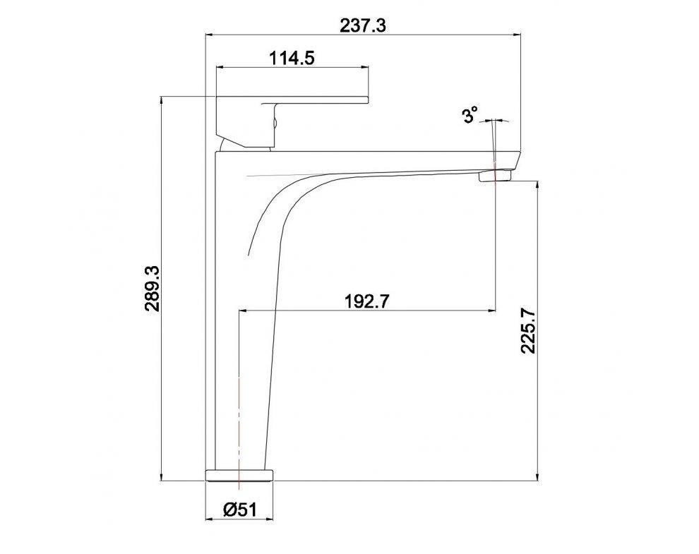 batéria AQS umývadlová stojanková vysoká, bez odtok. garnitúry, ALTEA