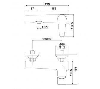 batéria AQS sprchová stenová bez príslušenstva, ALTEA