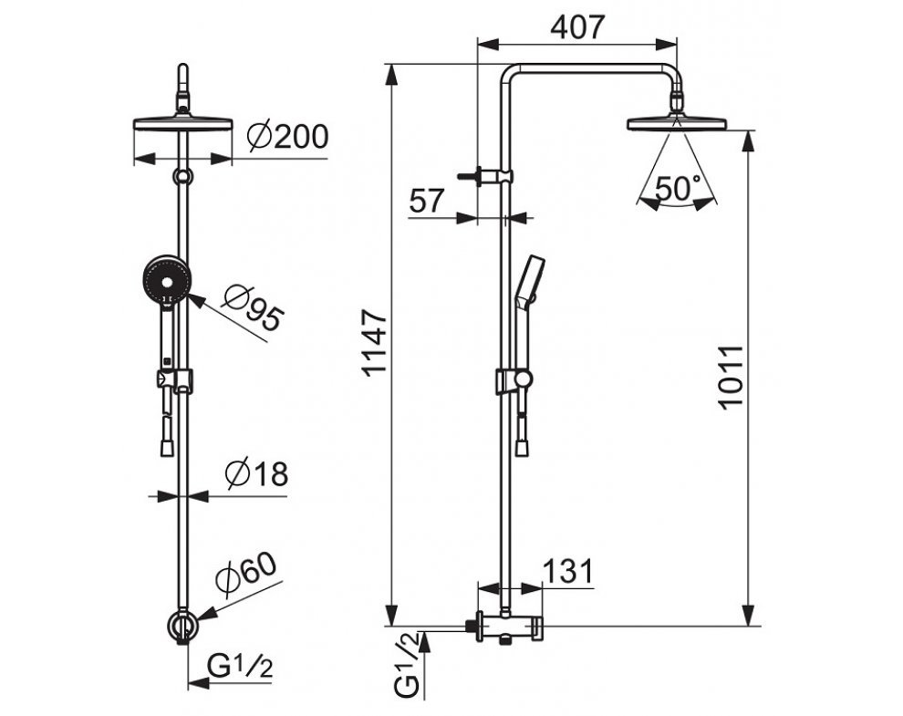 Sprchový termostatický systém s hlavovou sprchou d200mm, 3-poloh. ručná sprcha, HANSABASICJET, chróm