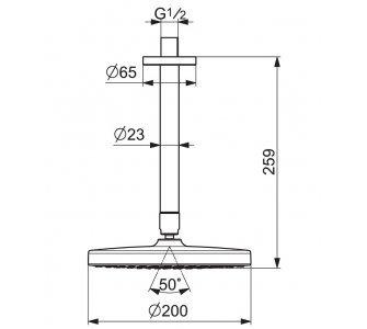 Sprchová hlavica so stropným ramenom, d200 mm, HANSABASICJET Style, chróm