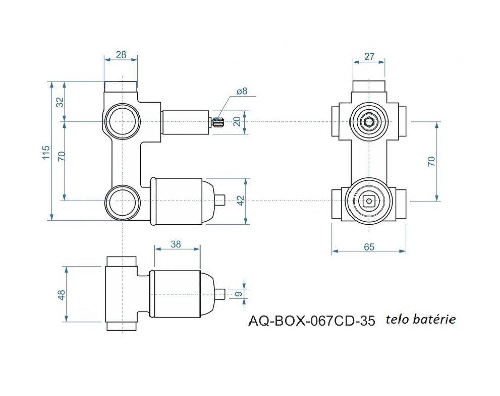 batéria AQS sprchová podomietková pre 3 odberné miesta, s AQ-boxom a s keramickým prepínačom, ALTEA
