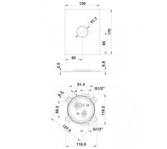 batéria podomietková pre 1 odberné miesto, vrátane podomietkového telesa, HERZ SQ, chróm
