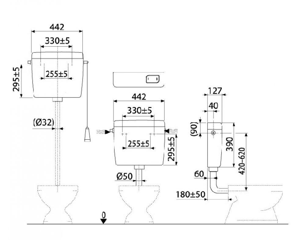 univerzálna WC nádržka Alca UNI, start/stop